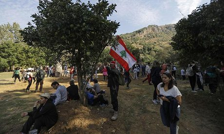 Protests in Lebanon in front of United States embassy